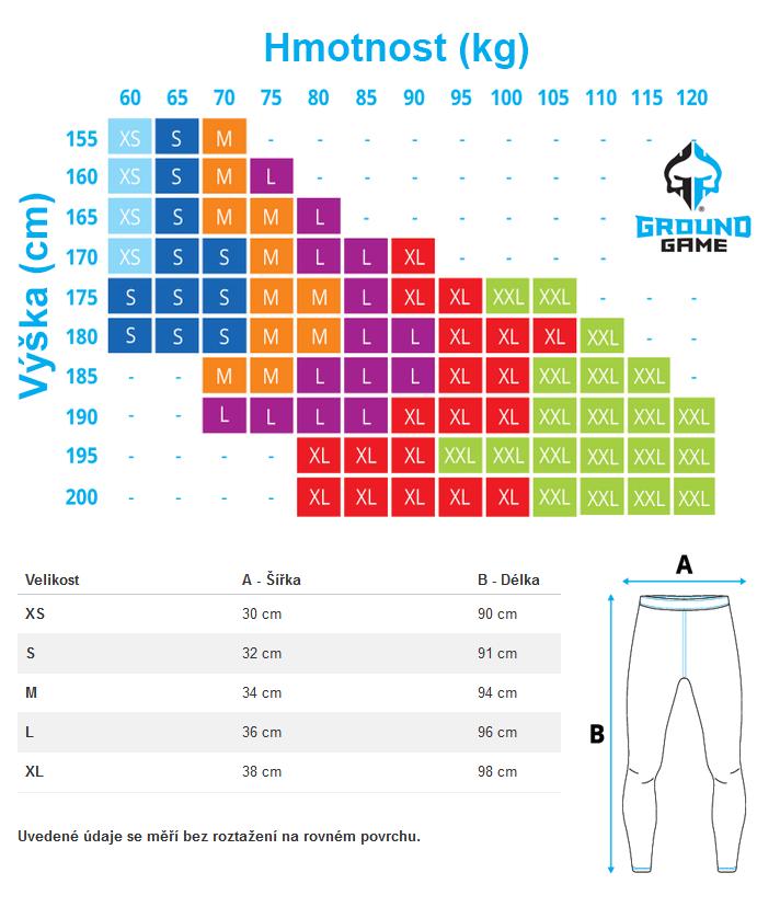 Velikostní tabulka legín ground Game